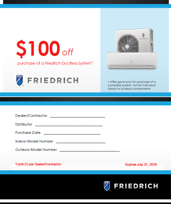 Friedrich Limited Time $100 Off Ductless Minisplit System